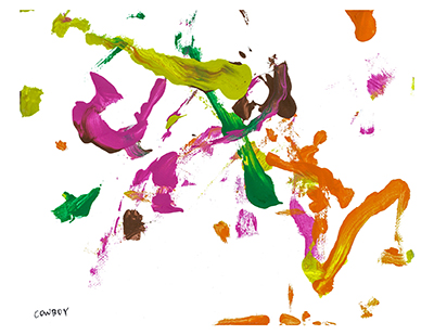 An abstract acrylic on canvas painting with pink, green, yellow, and orange paint streaks on a small white background