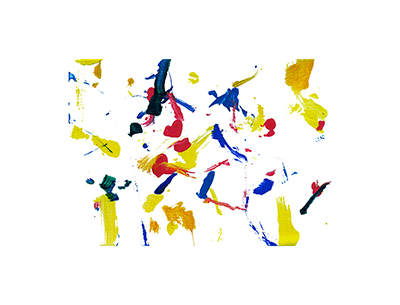An abstract acrylic painting with red, blue, orange, and yellow streaks and dots on a white background