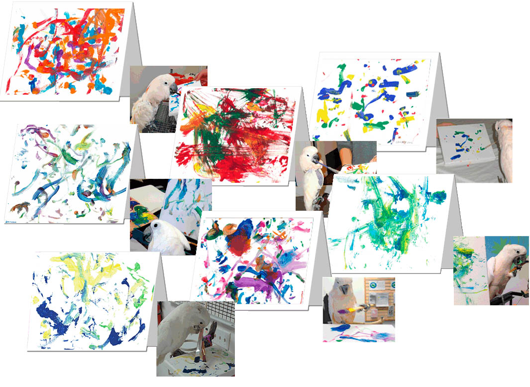 Image of a group of greeting cards with abstract acrylic paintings on the front