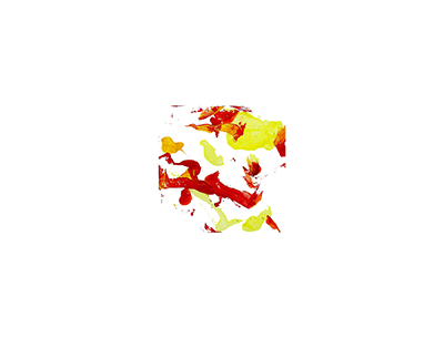 An abstract acrylic painting with red, orange, and yellow streaks and dots on a white background