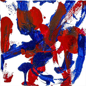 An abstract acrylic painting with red and blue streaks and dots