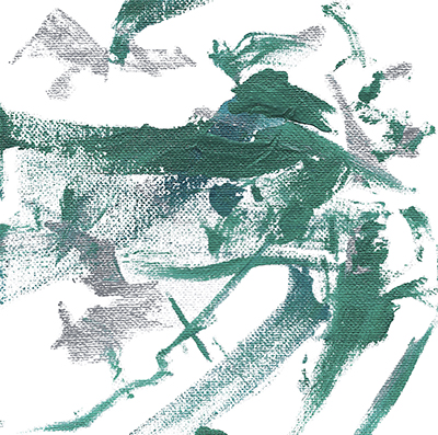 Abstract art with green and silver