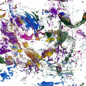 An abstract acrylic on canvas painting with purple, yellow, red, green, silver, and gold streaks