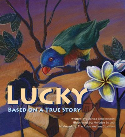 """Cover image of a book, """"Lucky"""" showing a drawing of a Rainbow Lorikeet perched in a tree"""