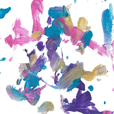 Abstract painting on canvas featuring blue, pink, and purple paints