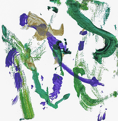 An abstract acrylic on canvas painting with green, purple, and gold streaks