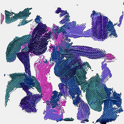 An abstract acrylic on canvas painting with teal, pink, and purple streaks